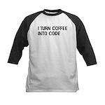 Coffee Into Code Funny Geek Kids Baseball Jersey