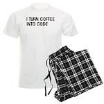 Coffee Into Code Funny Geek Men's Light Pajamas