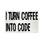 Coffee Into Code Funny Rectangle Magnet (10 pack)