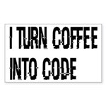 Coffee Into Code Funny Geek Sticker (Rectangle)
