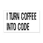 Coffee Into Code Funny Geek 20x12 Wall Decal