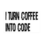 Coffee Into Code Funny Geek 35x21 Wall Decal