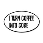 Coffee Into Code Funny Geek 20x12 Oval Wall Decal