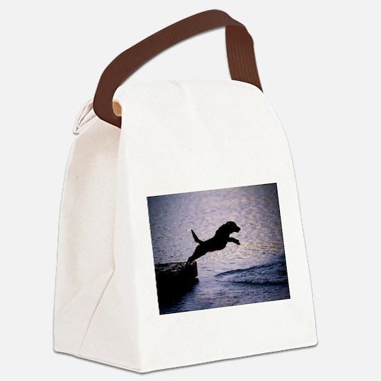 Chesapeake Bay Retriever Leaping Canvas Lunch Bag