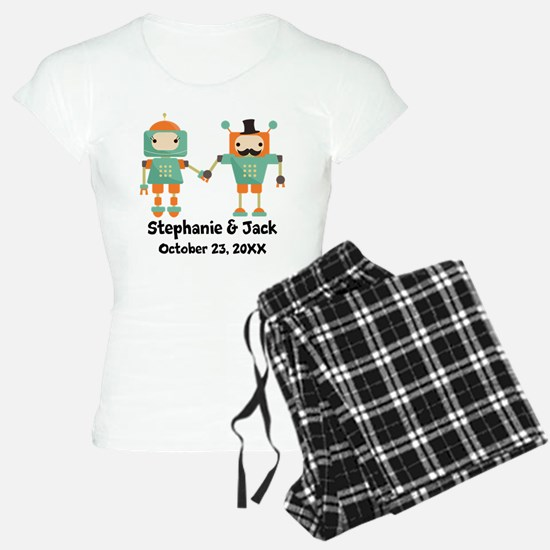 Personalized Couples Anniversary Robots Pajamas
