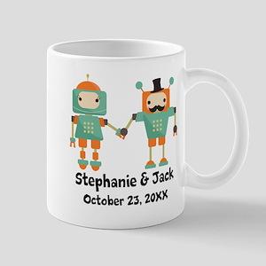Personalized Couples Anniversary Robots Mugs