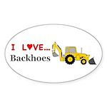 I Love Backhoes Sticker (Oval 50 pk)