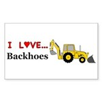 I Love Backhoes Sticker (Rectangle 10 pk)