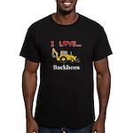 I Love Backhoes Men's Fitted T-Shirt (dark)