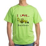 I Love Backhoes Green T-Shirt