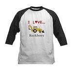 I Love Backhoes Kids Baseball Jersey