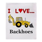 I Love Backhoes Throw Blanket