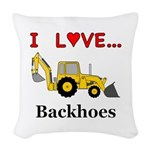 I Love Backhoes Woven Throw Pillow