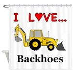 I Love Backhoes Shower Curtain