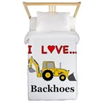 I Love Backhoes Twin Duvet