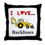 I Love Backhoes Throw Pillow