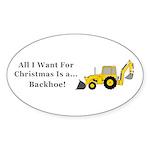 Christmas Backhoe Sticker (Oval 10 pk)