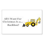 Christmas Backhoe Sticker (Rectangle 10 pk)