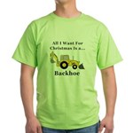 Christmas Backhoe Green T-Shirt