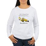 Christmas Backhoe Women's Long Sleeve T-Shirt