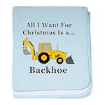 Christmas Backhoe baby blanket