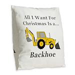 Christmas Backhoe Burlap Throw Pillow