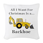 Christmas Backhoe Woven Throw Pillow