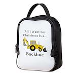 Christmas Backhoe Neoprene Lunch Bag