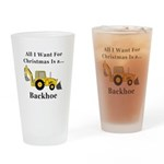 Christmas Backhoe Drinking Glass