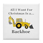 Christmas Backhoe Tile Coaster