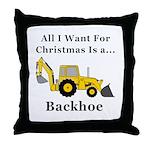 Christmas Backhoe Throw Pillow