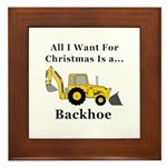 Christmas Backhoe Framed Tile