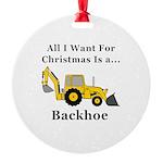 Christmas Backhoe Round Ornament