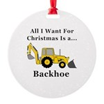 Christmas Backhoe Round Ornament