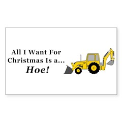 Christmas Hoe Sticker (Rectangle 10 pk)