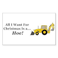 Christmas Hoe Sticker (Rectangle 10 pk)