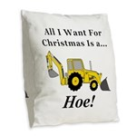 Christmas Hoe Burlap Throw Pillow