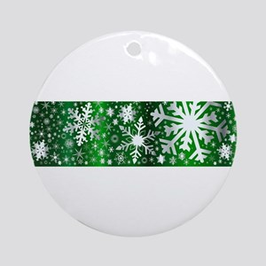 Silver Christmas Banner Round Ornament