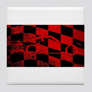 Fast Car Chequered Flag Tile Coaster