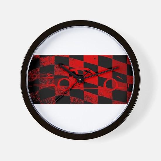 Fast Car Chequered Flag Wall Clock
