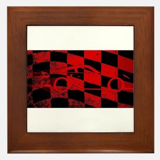 Fast Car Chequered Flag Framed Tile