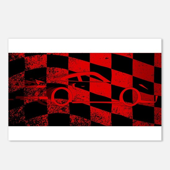 Fast Car Chequered Flag Postcards (Package of 8)