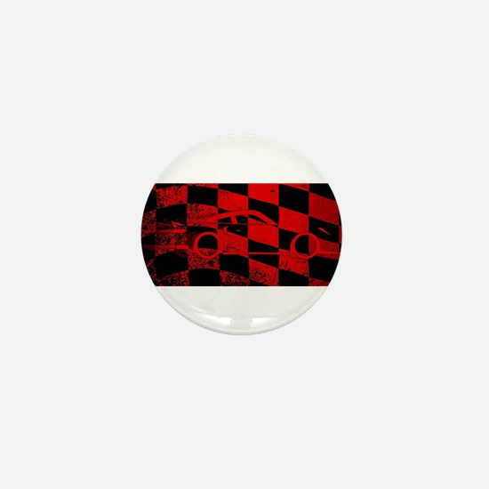 Fast Car Chequered Flag Mini Button