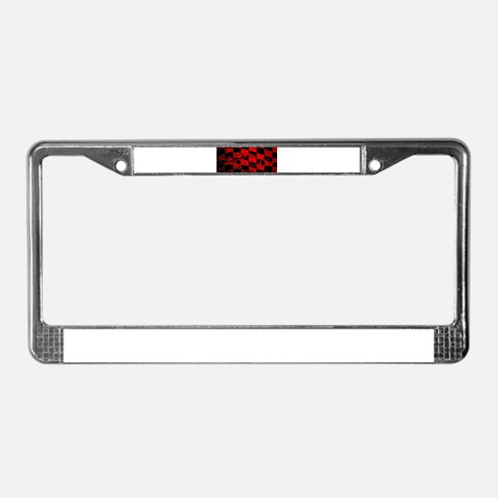 Fast Car Chequered Flag License Plate Frame