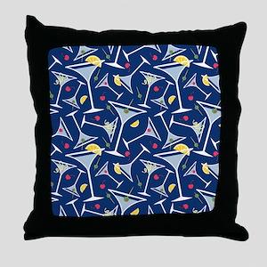 Blue Martinis Throw Pillow