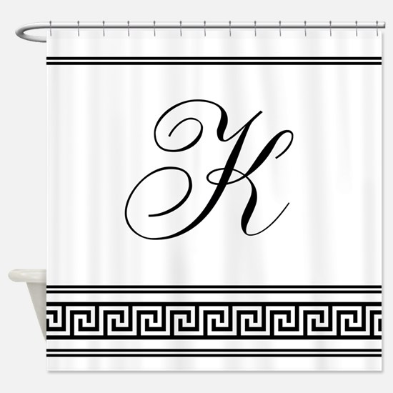 Monogram Letter K Art Deco Greek Shower Curtain