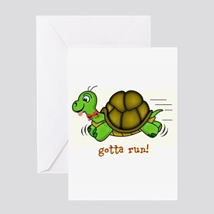 Turtle Gotta Run Greeting Cards