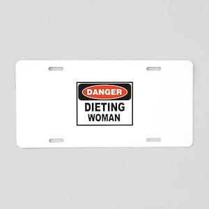 dieting woman fun Aluminum License Plate