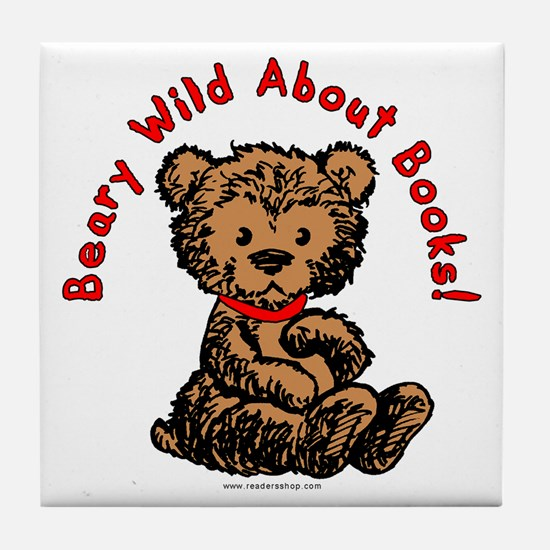 Beary Wild About Books Tile Coaster