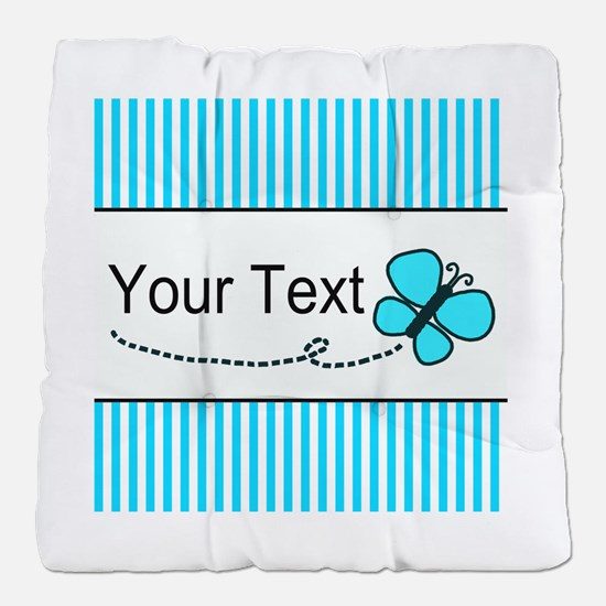Personalizable Teal Butterfly Tufted Chair Cushion